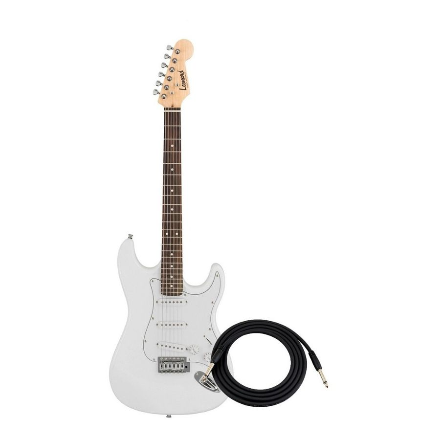 Guitarra-Electrica-Leonard-Le362-Tipo-Stratocaster-Con-Palanca-Y-Cable-Microfonos-Sss-De-21-Trastes-Con-Puente-Tremolo