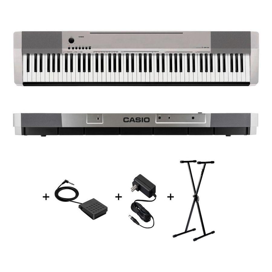 Combo-Piano-Digital-Casio-Cdp130-De-Color-Plateado-Con-88-Teclas-De-Accion-Martillo-Incluye-Pedal-Soporte-Y-Fuente