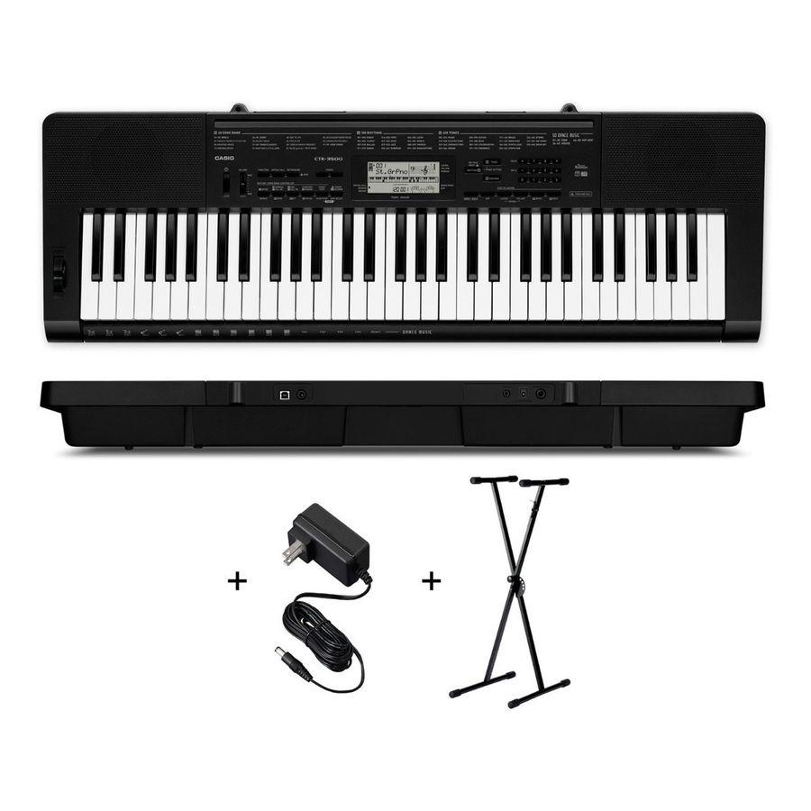 Teclado-Organo-Casio-Ctk3500-Sensitivo-De-5-Octavas-61-Teclas-Polifonia-De-48-Voces-Con-Dance-Music-Usb-Midi-Con-Soporte