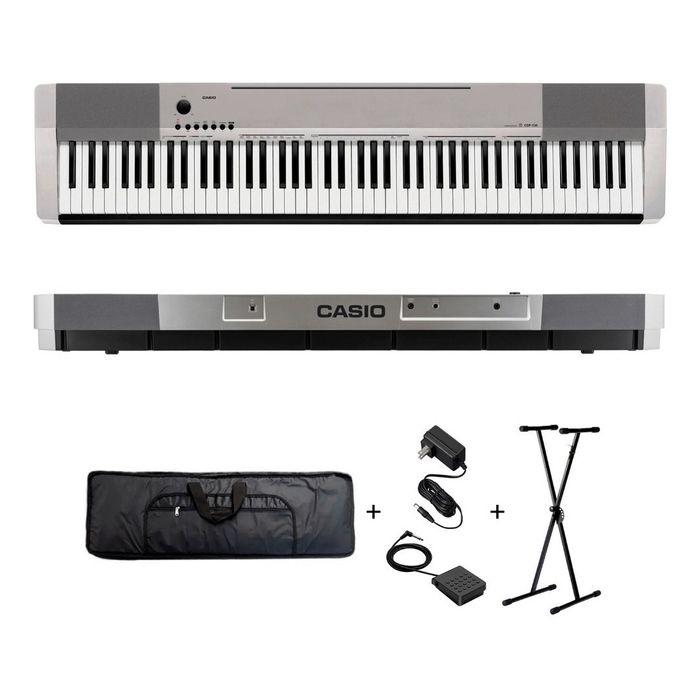 Combo-Piano-Digital-Casio-Cdp130-De-Color-Plateado-Con-88-Teclas-De-Accion-Martillo-Incluye-Pedal-Soporte-Funda-Y-Fuente