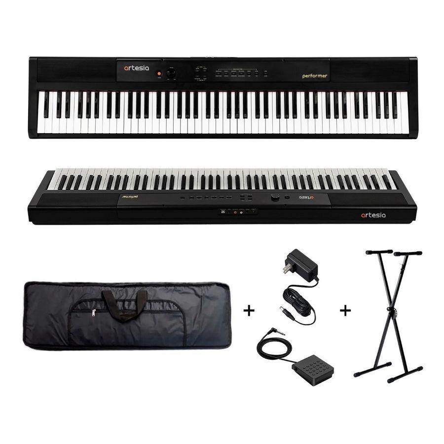 Combo-Piano-88-Teclas-Sensitivo-Artesia-Pedal-Funda-Soporte
