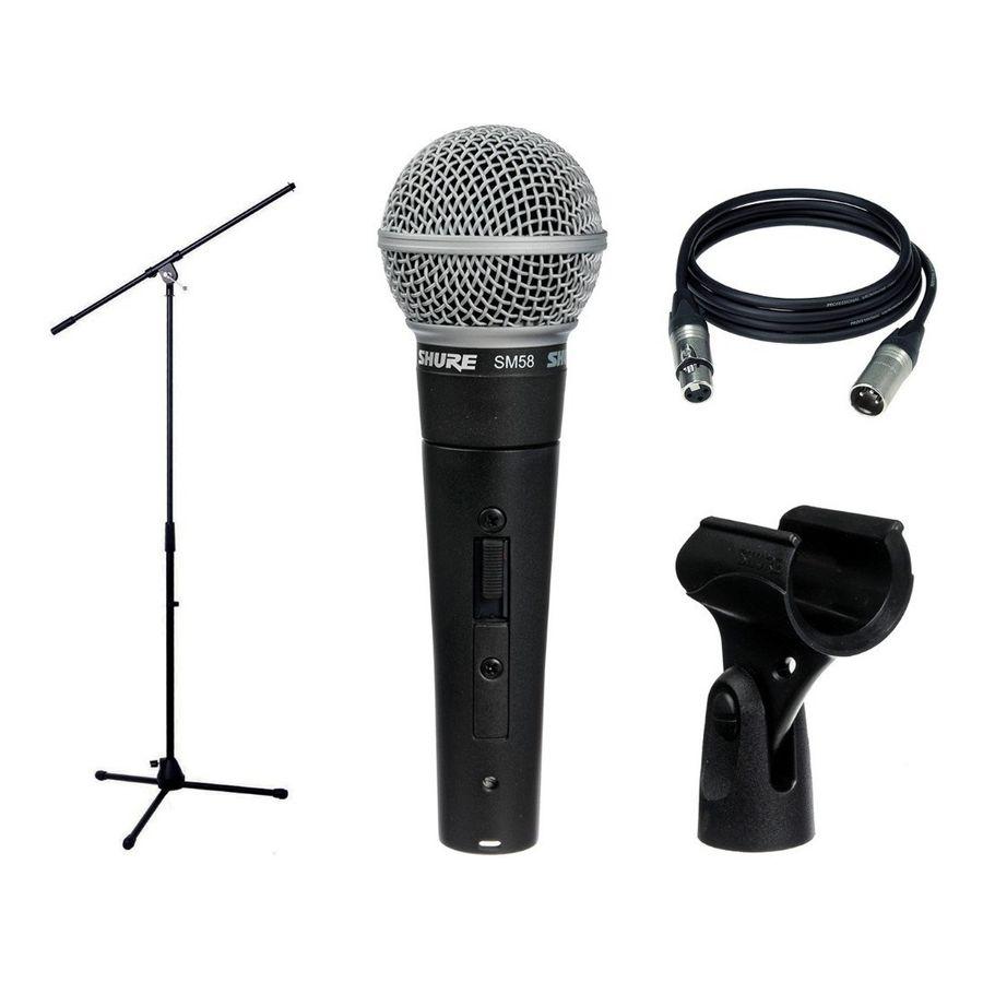 Microfonos-Para-Voces-Shure-Sm58-Combo-Con-Soporte-Y-Cable