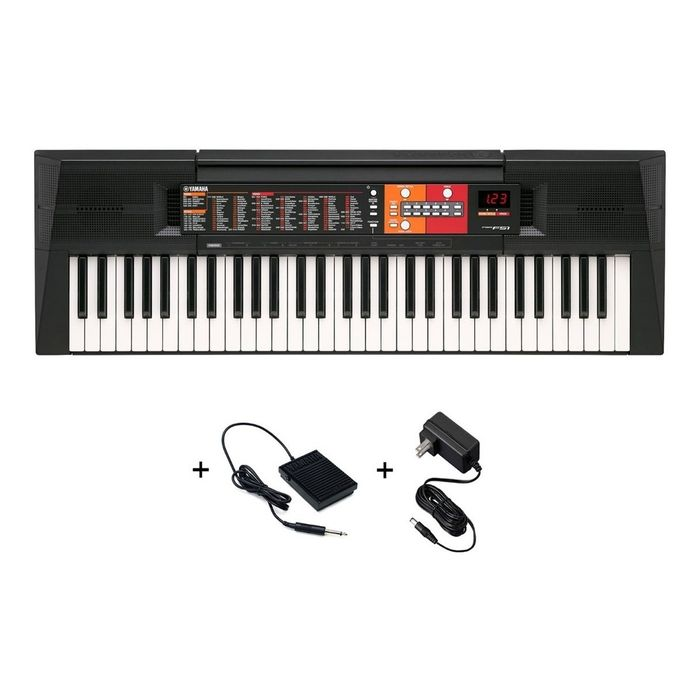 Combo-De-Teclado-Organo-Yamaha-Psrf51-De-5-Octavas-61-Teclas-120-Voces-32-Notas-De-Polifonia-Con-Fuente-Y-Pedal-Sustain