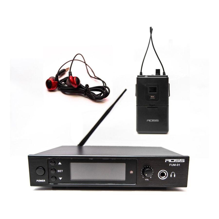 Sistema-De-Monitoreo-Intraural-Ross-Fum-001-Estereo-Canales-Uhf-Con-Frecuencia-Variable-Entrada-Xlr-Y-Control-De-Volumen