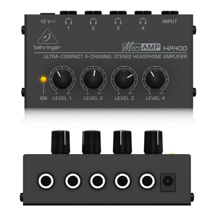 Amplificador-Para-Auriculares-Marca-Behringer-Ha400-De-4-Canales-Control-De-Nivel-De-Salida-Para-Cada-Canal