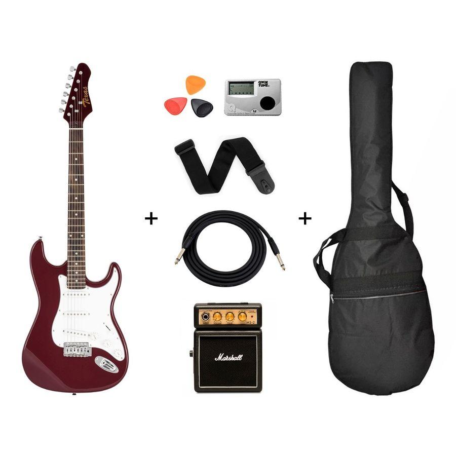 Guitarra-Electrica-Strato-Amplificador-Marshall---Accesorios