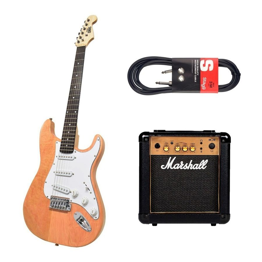 Guitarra-Electrica-Onas-Strato---Amplificador-Marshall-Mg10