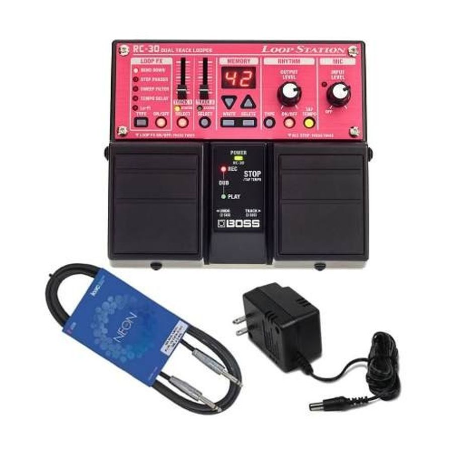 Pedal-Loop-Station-Boss-Rc30-Para-Guitarra---Fuente---Cable
