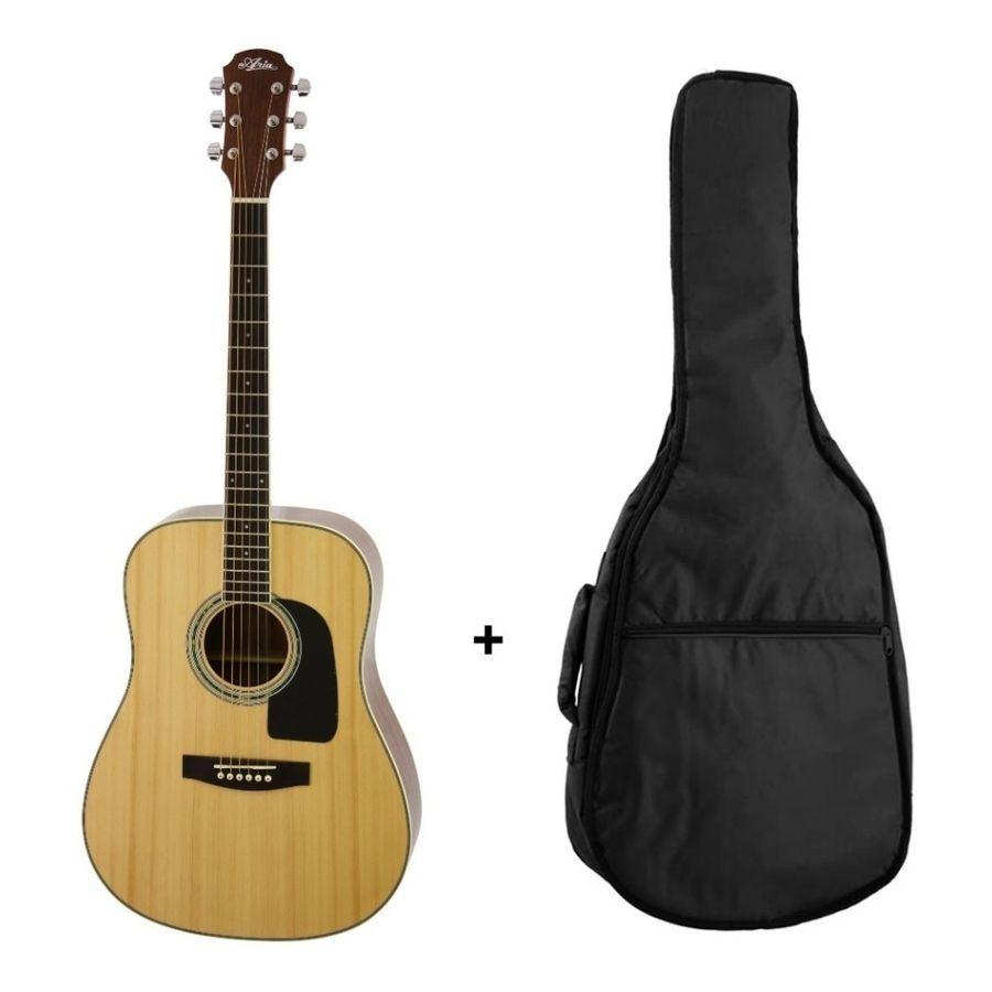 Combo-Guitarra-Acustica-Aria-Ad18-Natural---Funda-Regalo