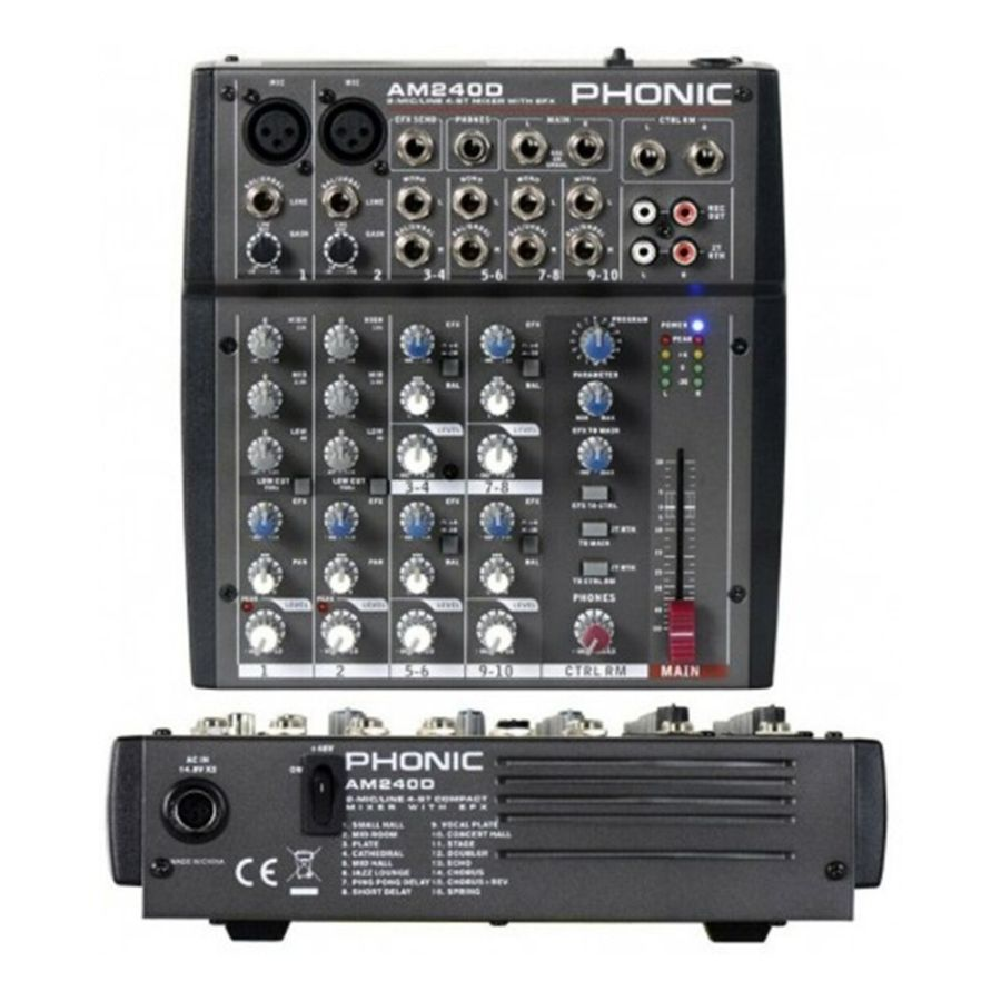 Consola-Mixer-Phonic-Am-240d-Compacto-2-In-Mic-linea-Dfx