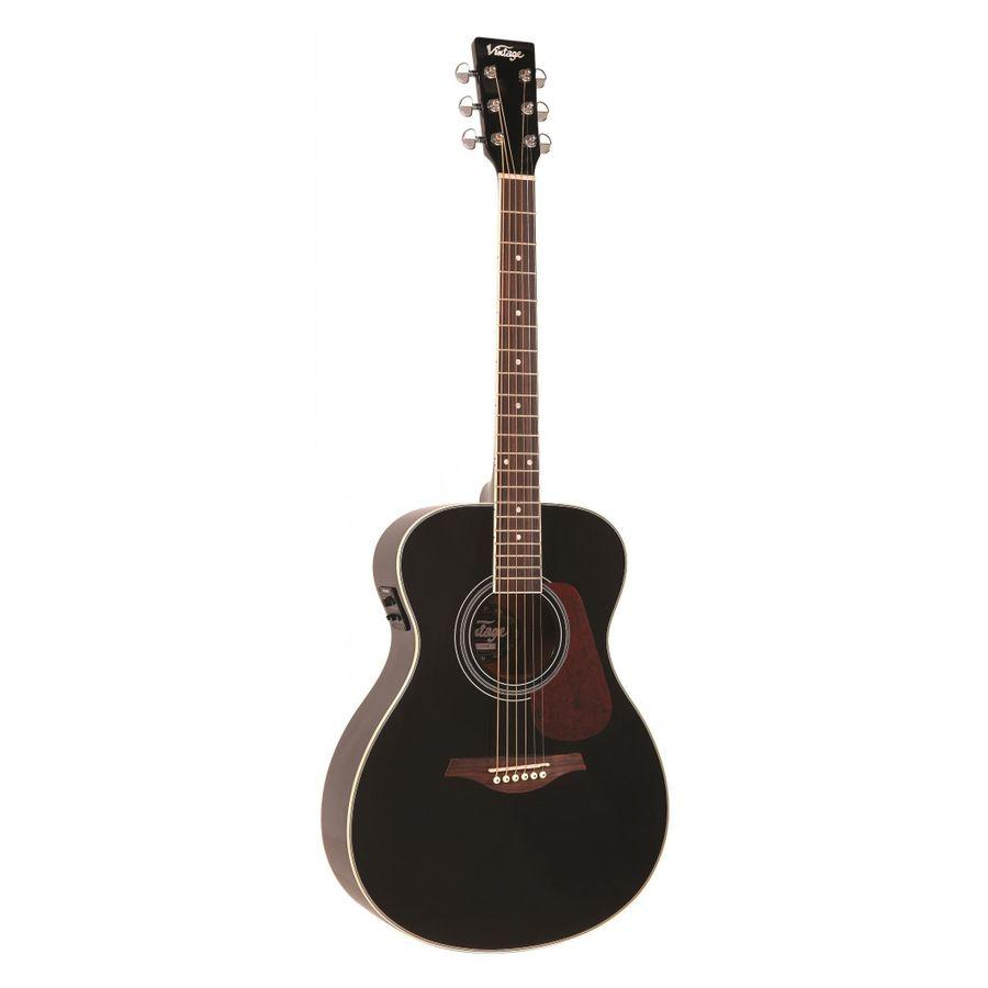 Guitarra-Electroacustica-Folk-Vintage-Ve300-Solida-Fishman-Gloss-Black