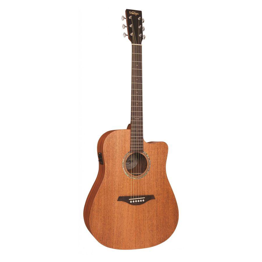 Guitarra-Electroacustica-Vintage-Vec50-C-corte-Fishman-Usb-Satin-Mahogany
