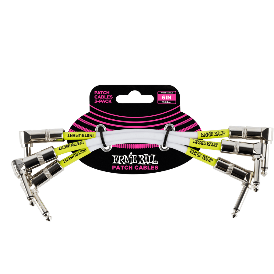 Cable-Interpedal-Ernie-Ball-P06051-Patch-Pack-X3-Blanco